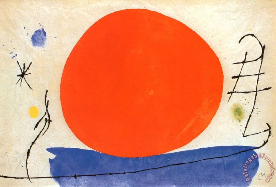 The Red Sun Painting by Joan Miro; The Red Sun Art Print for sale