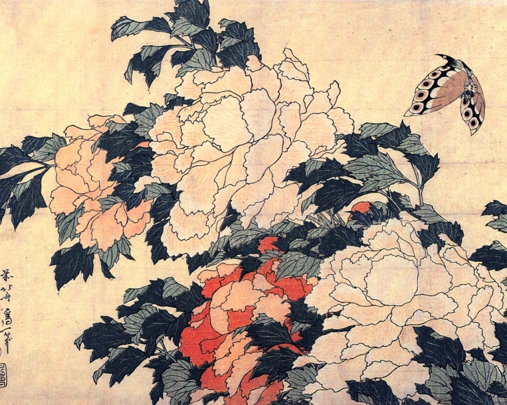 hokusai-peonies-and-butterf